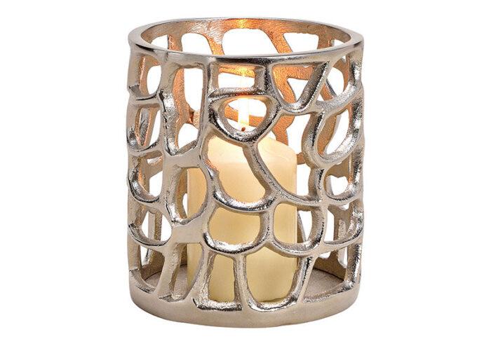Windlicht Antik Alu-Silber